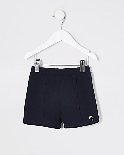 Mini Boys navy jersey twill short