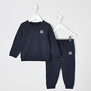 Mini - Outfit met blauwe joggingbroek voor jongens