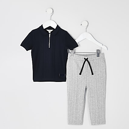 Mini boys navy knitted polo shirt outfit