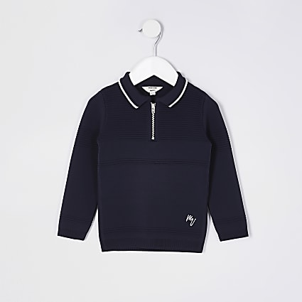Mini boys navy knitted polo shirt