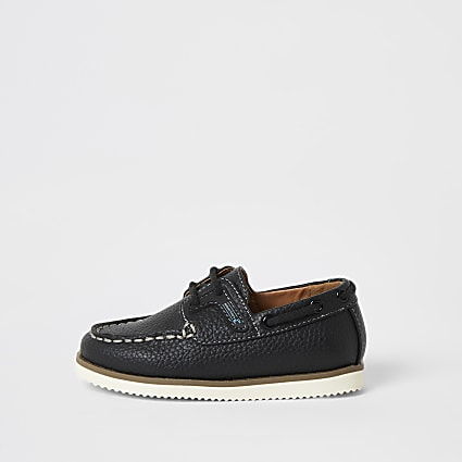 Mini boys navy lace-up boat shoes