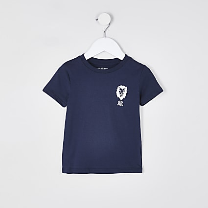 Mini boys navy lion print t-shirt