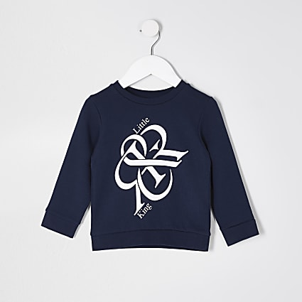 Mini boys navy 'Little King' sweatshirt