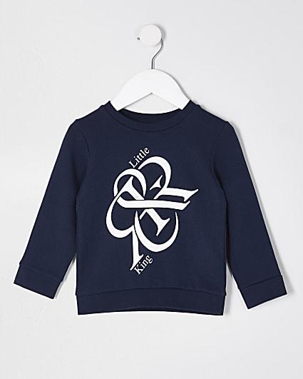 Mini boys navy 'Little King' sweatshirt
