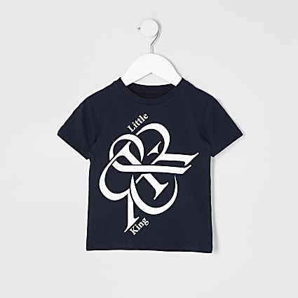 Mini boys navy 'Little King' t-shirt