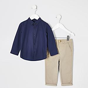 Mini – Marineblaues, langärmeliges Hemd-Outfit für Jungen