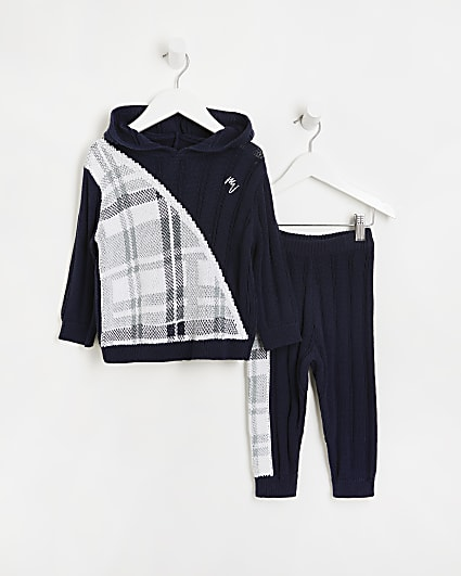 Mini boys navy Maison River knitted outfit