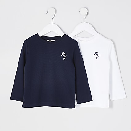 Mini boys navy Maison Riviera 2 pack tops