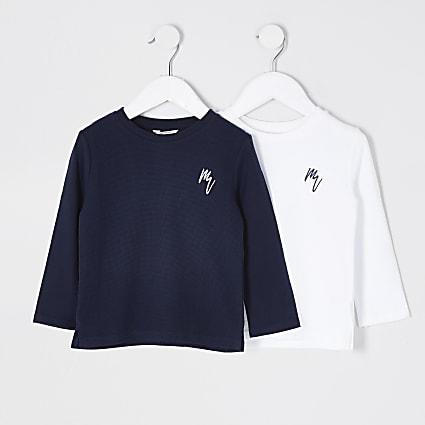 Mini boys navy Maison Riviera 2 pack tops