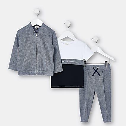 Mini boys navy Maison Riviera 3 piece outfit