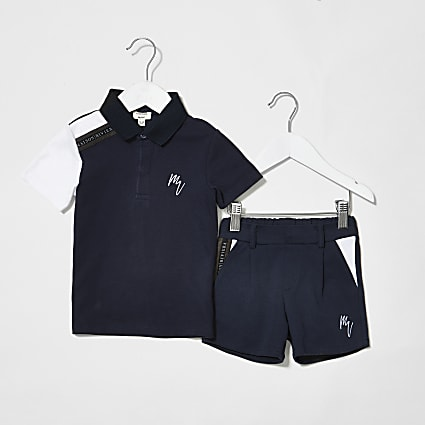 Mini boys navy maison tape polo set