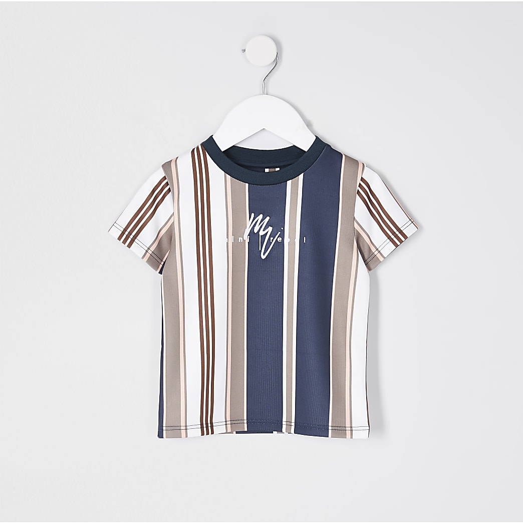 Mini boys navy 'Mini Rebel' stripe t-shirt
