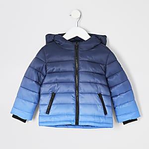 Mini - Marineblauwe gewatteerde jas met ombréprint voor jongens