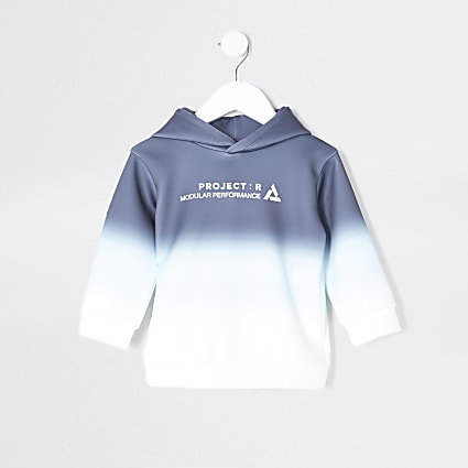 Mini boys navy ombre 'Project R' print hoodie