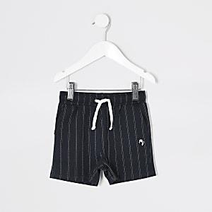 Mini - Marineblaue Shorts mit Nadelstreifen