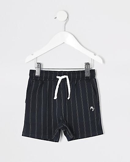 Mini boys navy pinstripe shorts