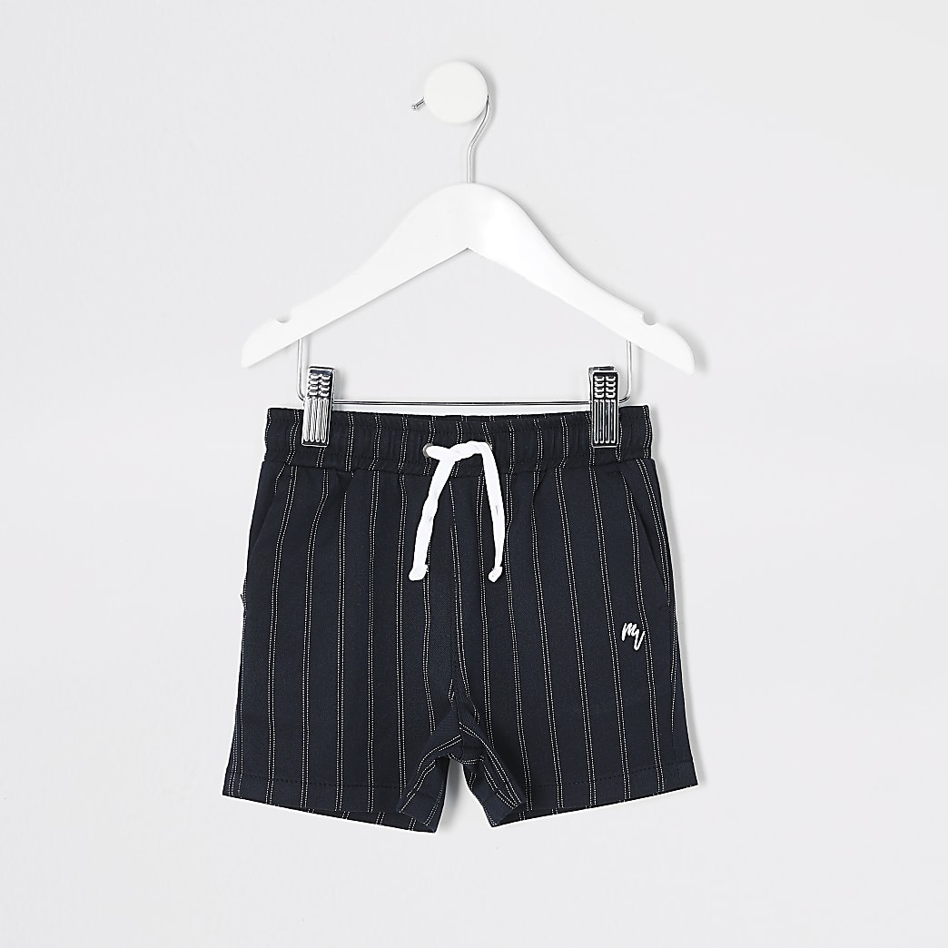 Mini - Marineblauwe shorts met krijtstreep voor jongens