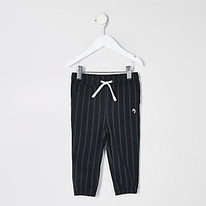 Mini boys navy pinstripe smart joggers
