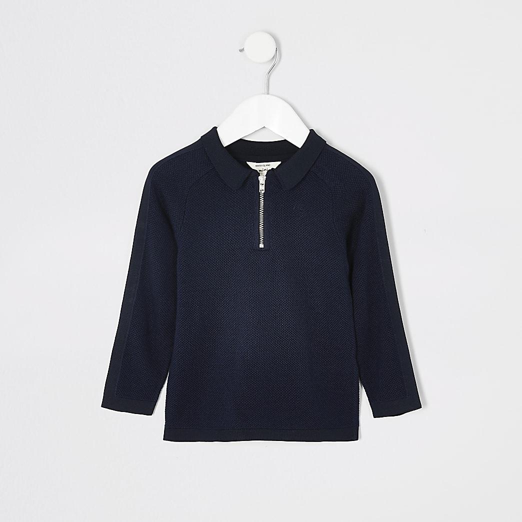 Mini - Marineblauw pikeurspoloshirt met lange mouwen voor jongens