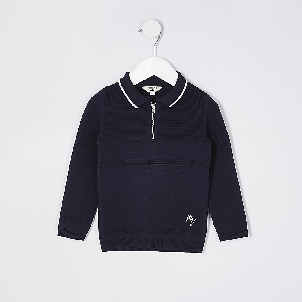 Mini boys navy polo jumper