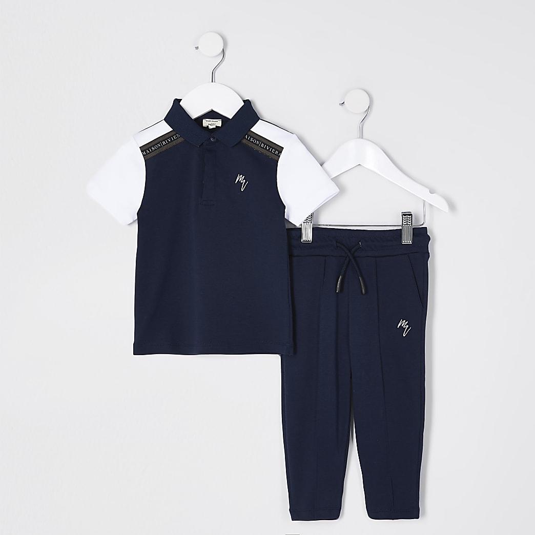 Mini boys navy polo maison tape outfit