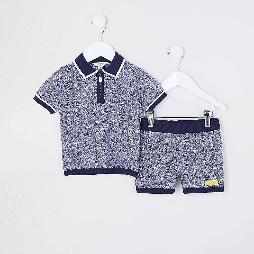 Mini boys navy polo shirt and shorts outfit