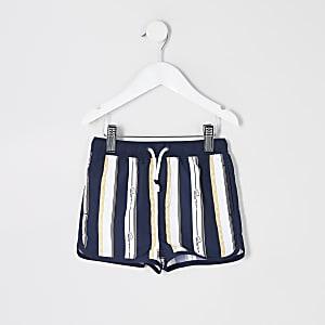 Mini - Marineblauwe zwemshort met print voor jongens