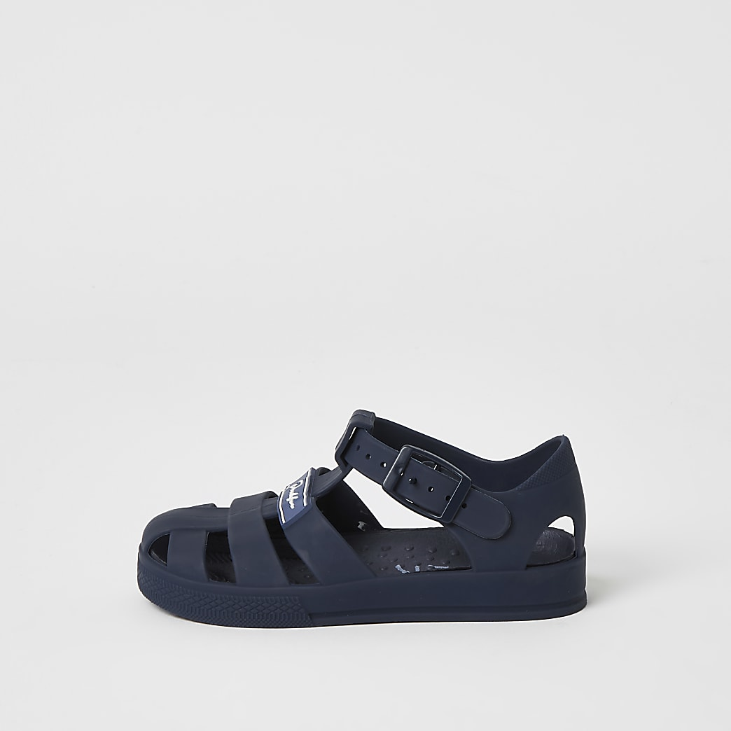 Mini boys navy Prolific caged jelly sandals