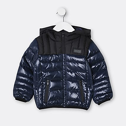 Mini boys navy puffer hooded coat