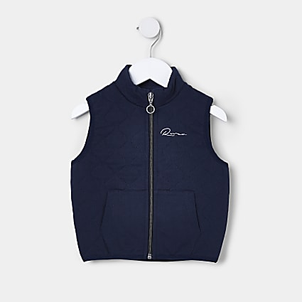Mini boys navy quilted River gilet