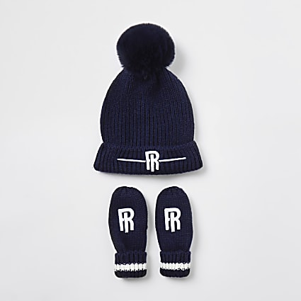 Mini boys navy RI beanie and mittens set
