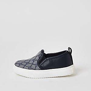 Mini - Marineblauwe slip-on sneakers met RI-jacquardprint voor jongens