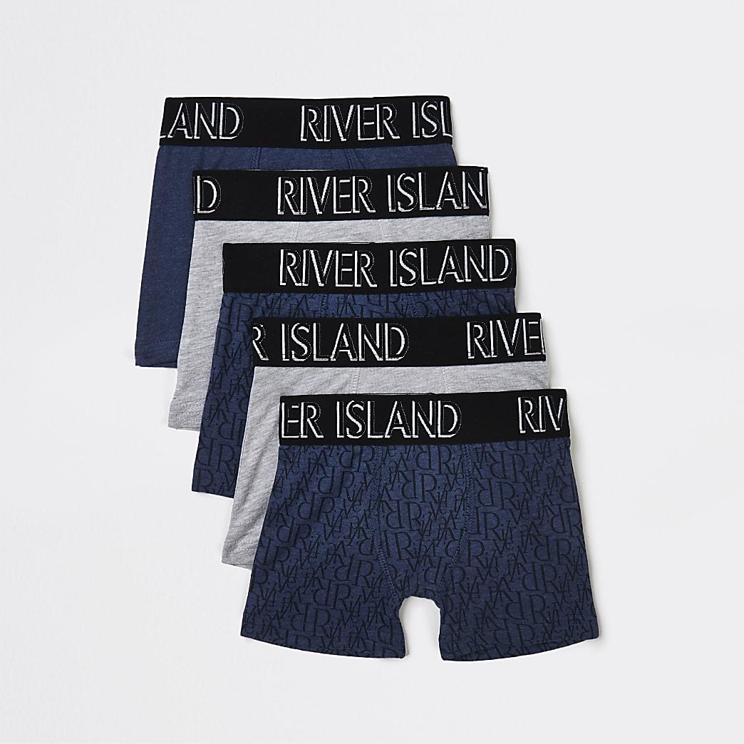 Mini boys navy RI Monogram boxers 5 pack