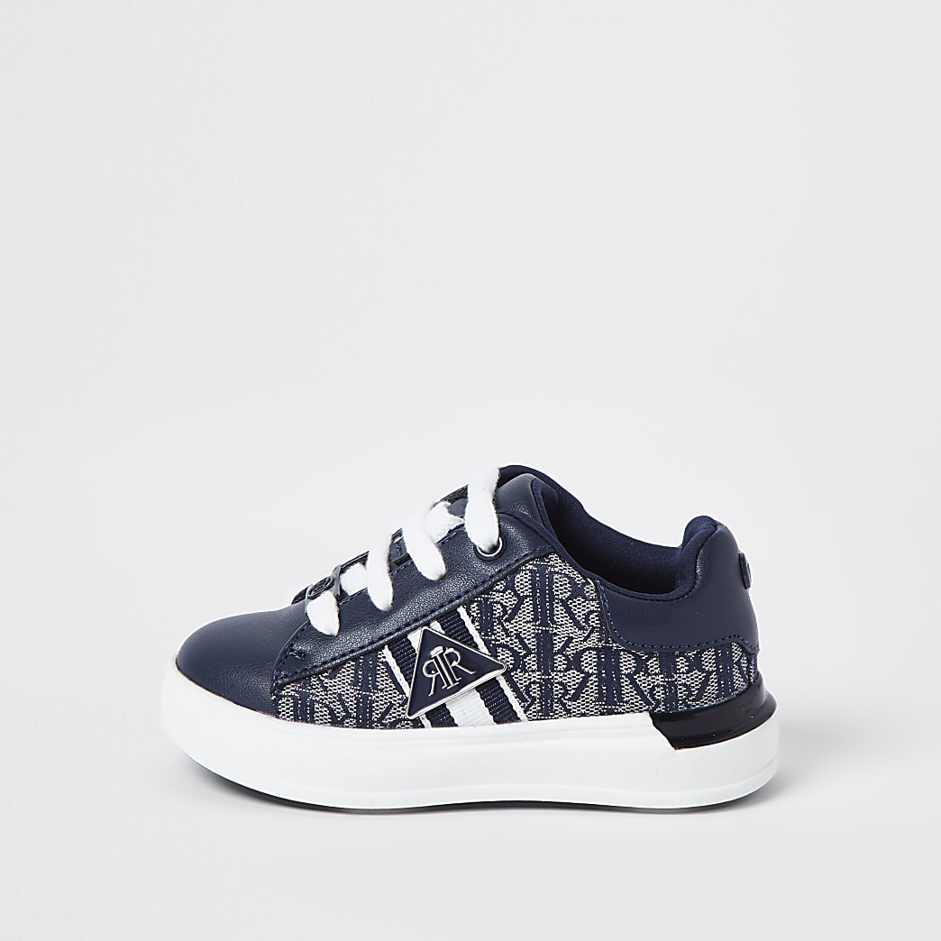 Mini boys navy RI monogram lace up trainers