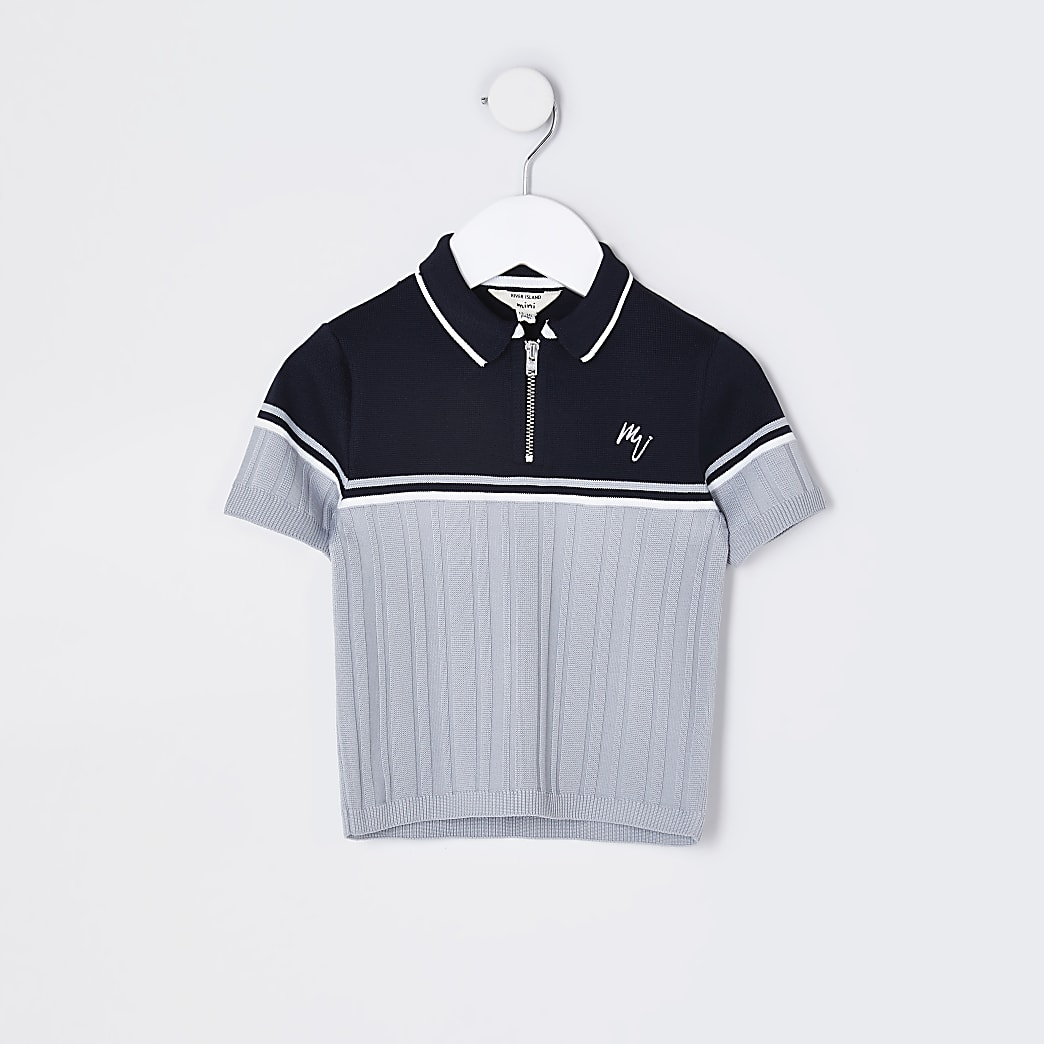 Mini boys navy ribbed polo shirt