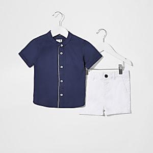 Mini – Chino-Outfit mit Ripstop-Hemd in Marineblau