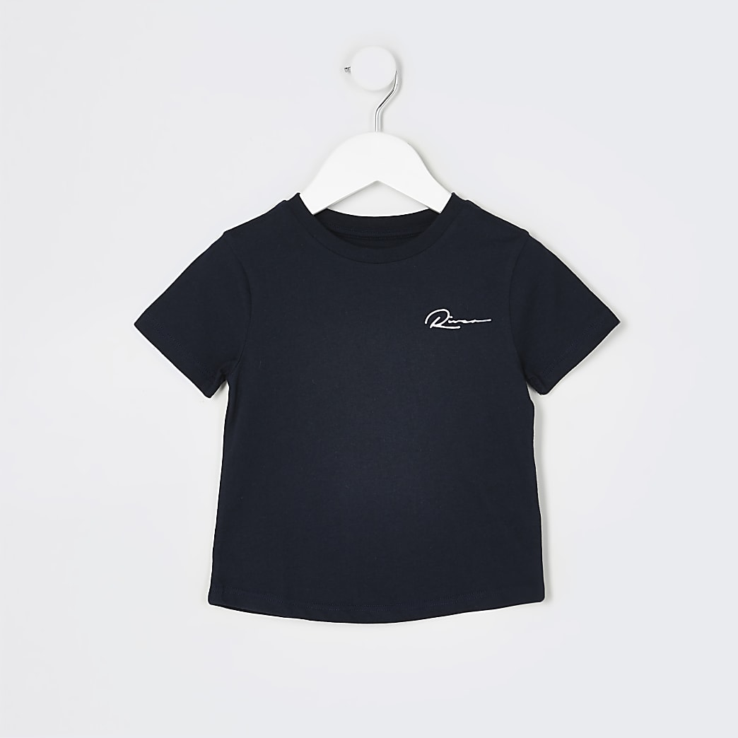 Mini boys navy 'River' curved hem t-shirt