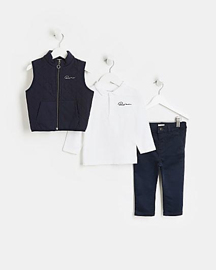 Mini boys navy 'River' gilet 3 piece set