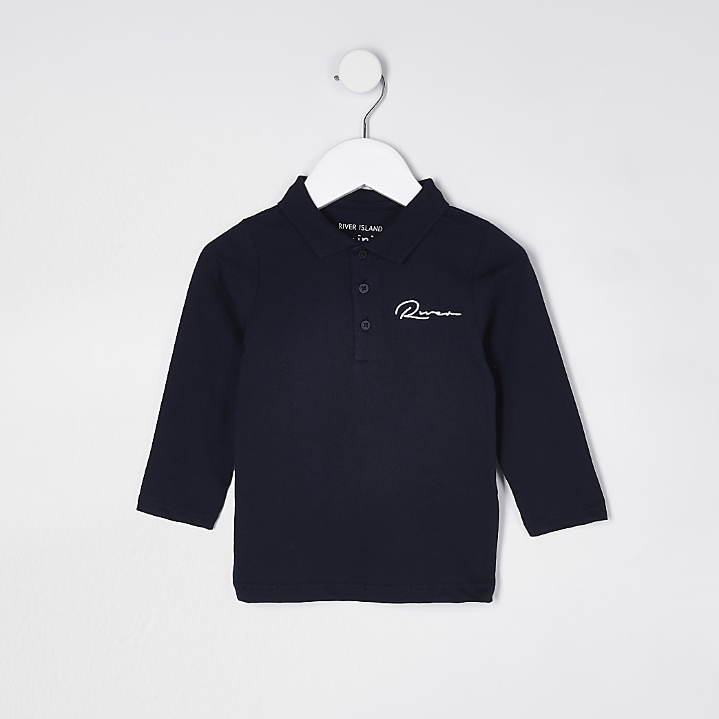 Mini boys navy River long sleeve polo shirt