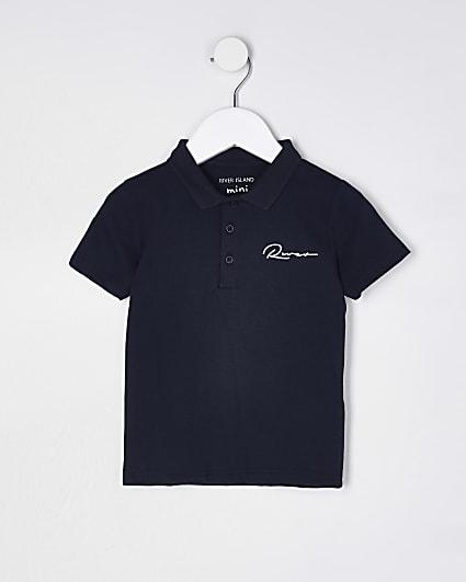 Mini boys navy River polo shirt