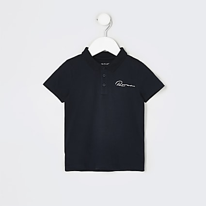 Mini boys navy 'River' polo shirt