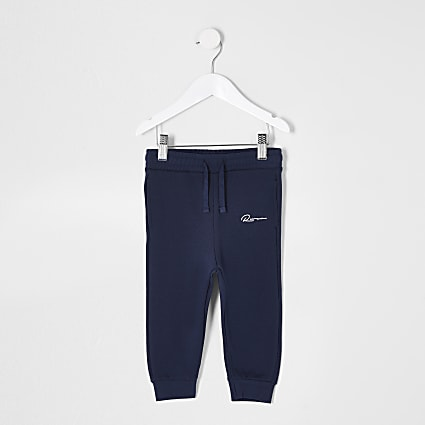 Mini boys navy 'River' printed Joggers
