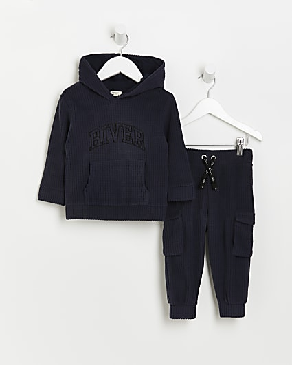 Mini boys navy River waffle hoodie outfit