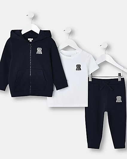 Mini boys navy RR hoodie and jogger outfit