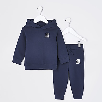 Mini boys navy RR hoodie and joggers outfit