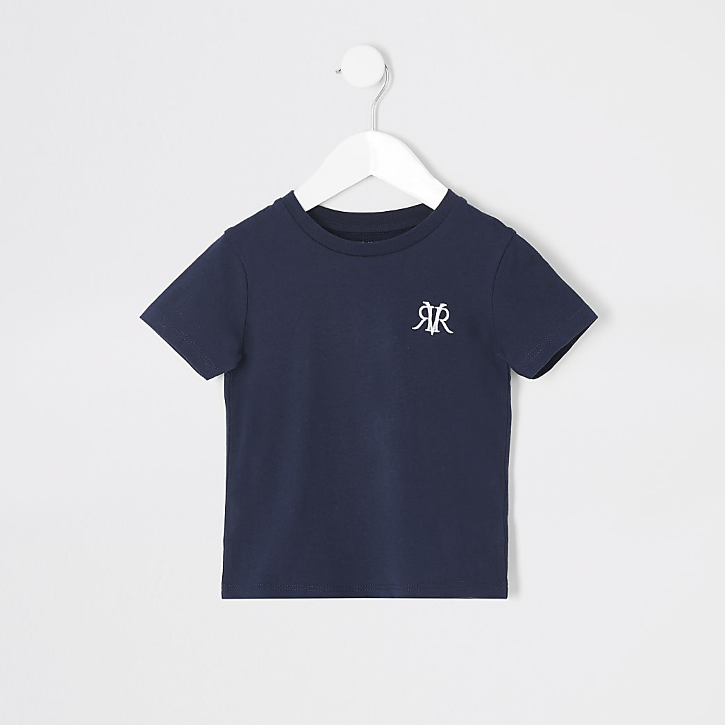 Mini boys navy RVR embroidered T-shirt