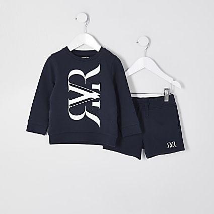 Mini boys navy RVR sweatshirt outfit