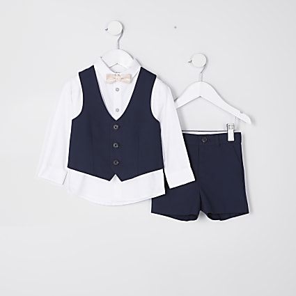 Mini boys navy short suit outfit