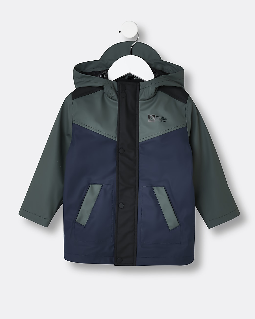 Mini boys navy shower resistant rain jacket