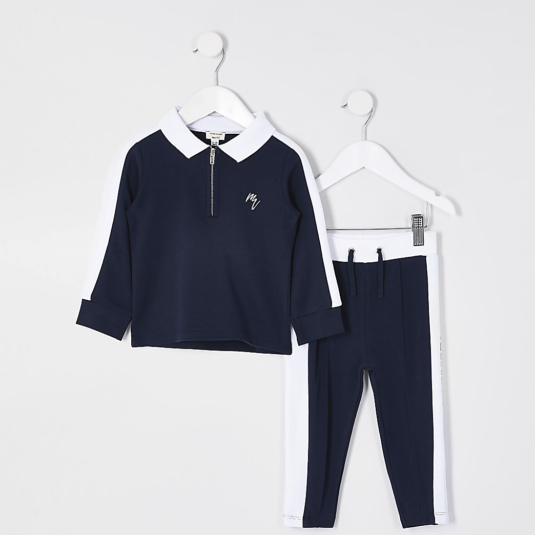 Mini boys navy side stripe Maison polo outfit